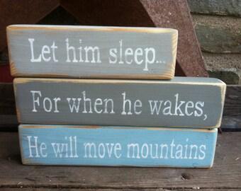 Let Him Sleep   Hand Painted   Stacking blocks   Nursery   Gray   Light Blue   Rustic decor   Farmhouse Nursey