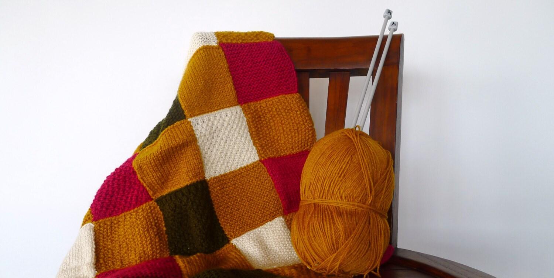 Manta patchwork de punto para beb s manta de lana hecha a - Lana gorda para mantas ...