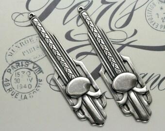 Art Deco/Art Nouveau drop Empire Silver Earring Finding Drop - Great Gatsby, Titanic inspired aged silver plate earring drops - 2pcs