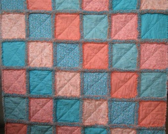 NOW ON SALE!!!!  Aqua and coral rag quilt for baby girl