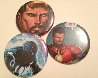 Iron Man/Tony Stark Comic Book Button 3 pack