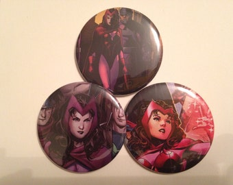 Scarlet Witch Comic Book Button 3 pack