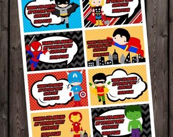 Customized name  superhero thank you tags