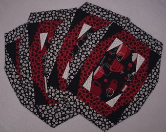 Place Mats - Modern Cafe Theme Red And Black - Set of 4 - Home Decor