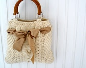 Mothers day Handmade handbag BEIGE Birthday gift for mom ivory Knit tote bag purse Fashion  Holiday womens accessories