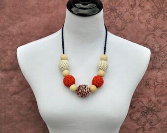 Nursing Necklace - Orange, Navy, and  Khaki - Teething Beads