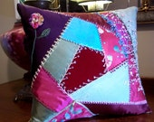 Hand Pieced Crazy Quilt Pillow Vintage & New Fabrics Silk Cotton Velvet Hand Dyed, Embroidered Highly Decorative Some Metallic Threads Beads