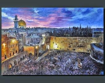 "Judaica ""Shavuot"" Praying at the Western Wall Jerusalem Embellished Mixed media By Yossi Bitton"
