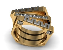 14k Yellow Gold Modern Two Tone Ring for Women with Diamonds Item# WR-0194