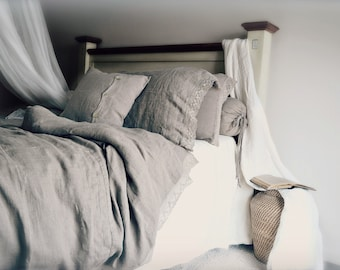 "Pure, genuine European linen bedding: ""Provincial Living"" duvet/quilt cover with linen lace by House of Baltic Linen"