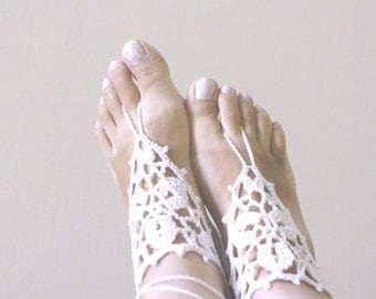 Ivory Barefoot Sandals ,Crochet Barefoot Sandals Anklet ,Greek sandals,Beach wedding shoes, Foot jewelry, Victorian lace, Yoga.