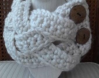 Crochet Braided Cowl / Braided Infinity Scarf