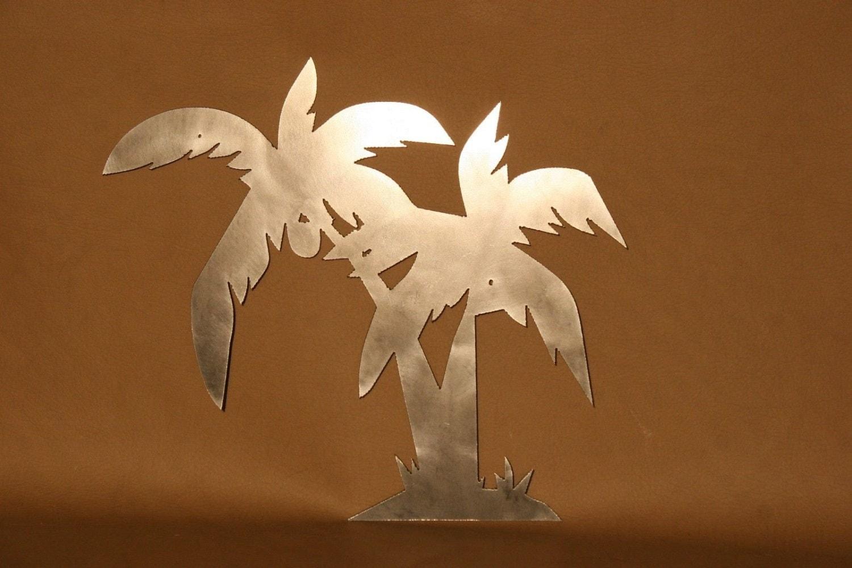 Palm Tree Plasma Cut Metal Wall Art Hanging By