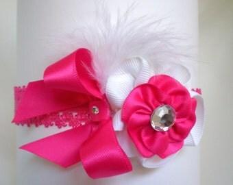 Shocking Pink and White Lace Headband