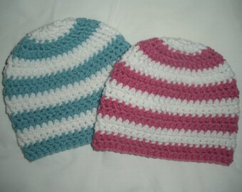 Crochet baby beanies, twin baby gift, boy girl twin baby hats, pink teal white stripe, newborn photo prop, twin hospital hat, 0-3 month hats