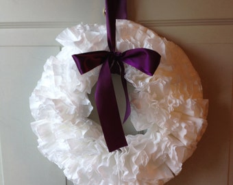 Rustic White Coffee Filter Wreath