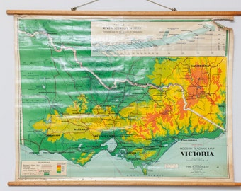 Vintage, cloth, canvas map from circa 1960's showing the physical features of Victoria