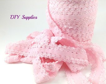 Powder pink Picot edge stretch lace elastic - 5/8 lace elastic by the yard - Lace for headbands - Lace by the yard in 1, 3 or 5 yards