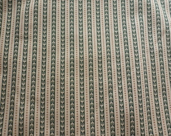 15% off SALE!  1860s Cotton Print Fabric ~ per yd or fat quarter ~ Klassic Cottons green and brown flowers stripes ~ Civil War (FAB-KCG)