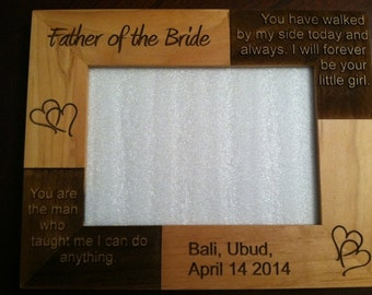 "Laser Engraved Custom Wood Photo Picture frame 5"" x 7"""