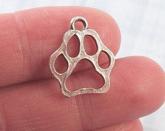 8 pc. Dog or Cat Paw charm, 20x17mm, antique silver finish