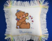Newborn Gift, Baby Boy Bear Pillow Hand Made with Cross Stitch, Personalized with Baby's Name & Birthdate, Adorable Gift or Keepsake