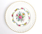 Vintage French Faience Luneville Plate - Floral design - KG Keller and Guerin Ceramic -  scalloped gold rim