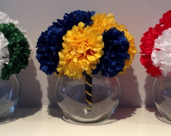 Graduation Party Centerpiece - Graduation Floral Decor - School Colors Decoration - Sports Team Decor - Sports Centerpiece