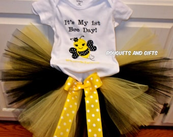 It's My First Bee Day Tutu Set, It's My First Bee Day Tutu , Bubble Bee Tutu Set, It's My First Bee Day Tutu Outfit