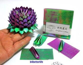 Pack Of 200 sheets Purple Color DIY Origami Lotus Paper Folding Kit for Making 2pcs of Medium Size Lotus. (TX Paper Series).