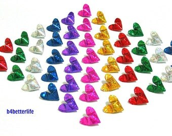 "Lot of 175pcs Medium Size 3D Origami Hearts ""LOVE"". (4D Glittering Paper Series). #FOH-108."