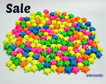Lot of 250pcs Medium Size Origami Lucky Stars. (Luminous Paper Series).
