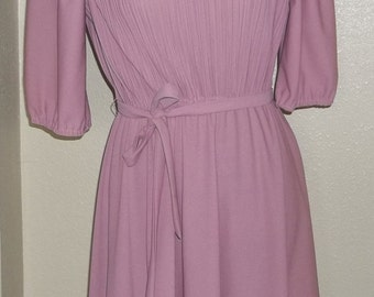 Vintage Sally Lou Dress 1980's / Mauve Colored