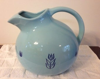 Vintage 1950s Cronin Blue Ball Pitcher with Tulips