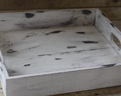 Reclaimed Small Wood Crate, & Cream, Serving Tray, Rustic Candle Holder, Wood Box, Wedding Centerpiece
