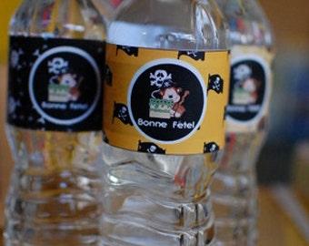 Water bottle labels - Pirates - étiquette BONNE FETE - digital file - instant download