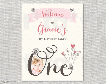 Whimsical One Daisy Birthday Welcome Party Sign | Custom Sweet Hearts Flowers Girl's First Birthday Party Decoration DIY Printable PDF / JPG