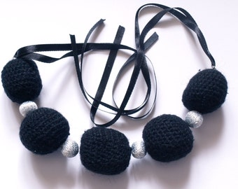 bead crochet black necklace