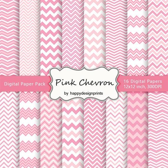 Pastel Pink Chevron Wallpaper Digital Paper Pack Of 16 300
