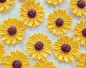 Fondant Sunflower/Daisy/Gerberas cupcake cake wedding topper(Multiple sizes)