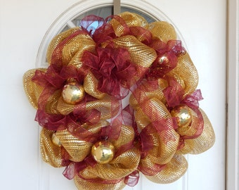 Gold ornament wreath, gold fall wreath, christmas wreath, holiday wreath, deco mesh wreath, christmas decoration, christmas decor, w1120