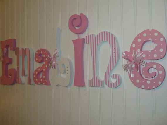 Nursery Letters Nursery Wall Hanging Letters Pink White