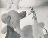 KNITTING CROCHET PATTERNS Vintage Oliver Elephant Horse Giraffe Toy Animal Instant Download pdf