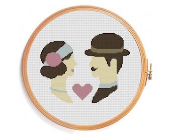 Retro wedding cross stitch - vintage color - paris style - pastel colors - brown pink - love lovers - Instant download pattern - hat ribbon