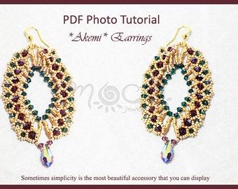 Photo Tutorial  eng-ita  ,DIY Earrings,*akemI* earrings ,pdf Pattern 32