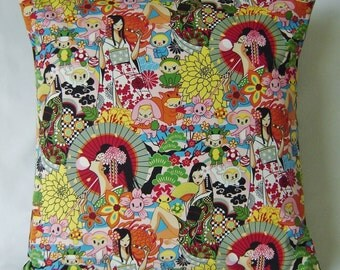 "RETRO Cushion Cover - Japanese kawaii anime geisha in pink 17.5"" x 17.5"""