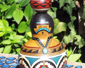 Southwestern Hand-painted Gourd #702 Woman Figurine