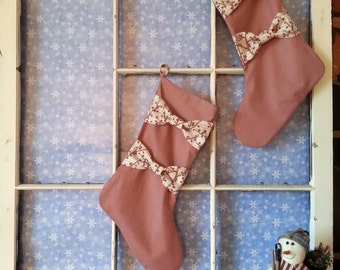Sale - was 29.99 - Now 24.98. Handmade Christmas Stocking, Red Check Winter Berries Bows Branches