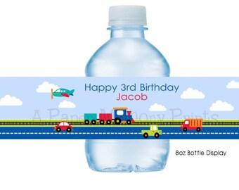 Transportation Water Bottle Labels DIY Printable