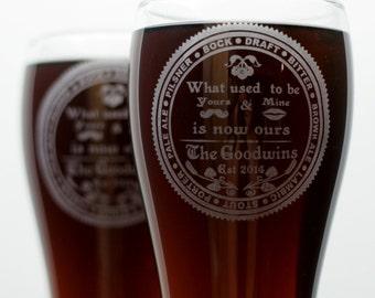 Custom Newlywed gift set of 2 Glasses, home brew gift, homebrew, beer gift, personalized gift, custom home brew glass